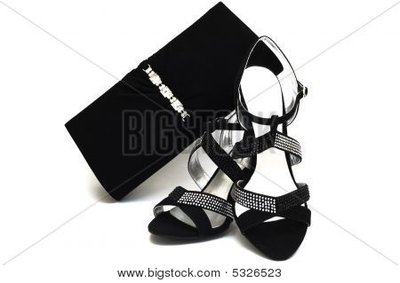 Black Suede Female Shoes And Handbag With Pastes