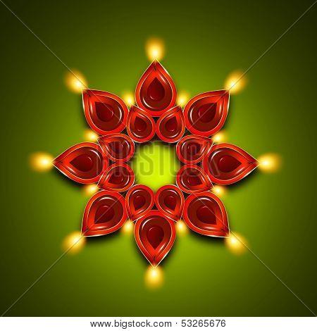 Oil Lamps With Diwali Diya Elements Over Dark Green