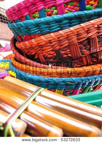 Andean Flutes And Baskets.