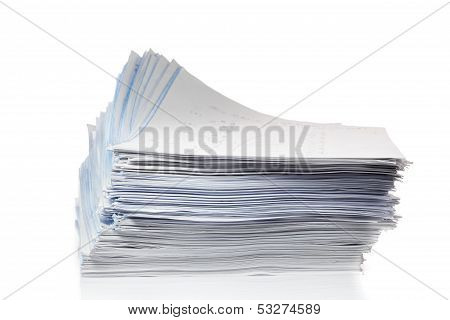 Stack Of Papers Isolated On White.