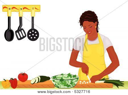 African Woman Preparing Fresh Salad On White