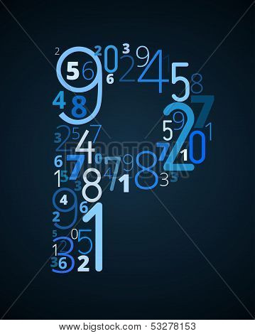Letter P, vector font from numbers