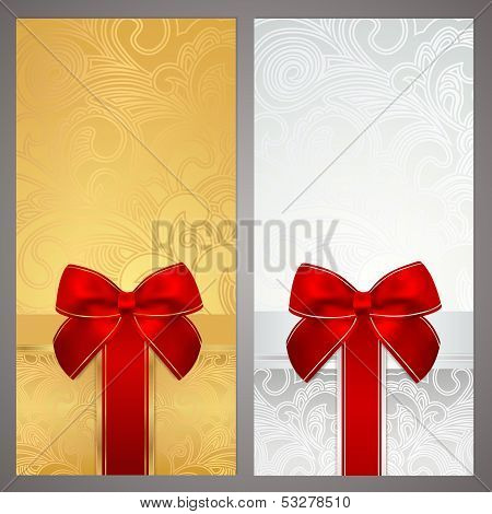 Gift certificate, Coupon, Voucher with gift bow, ribbons (holiday present)