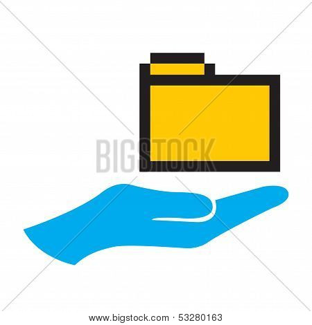 Hand And Folder Icon