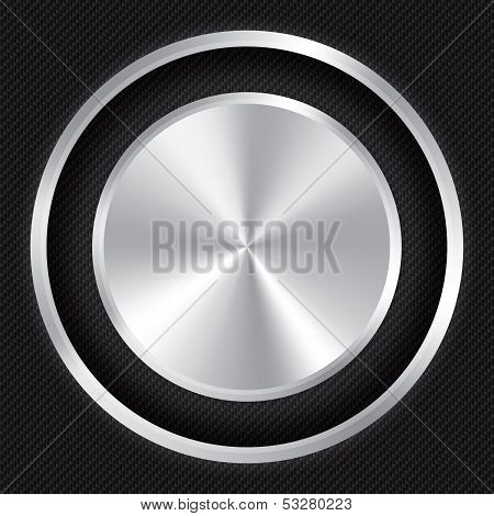 Metallic button on Carbon fiber background. Vector realistic metallic icon with gradient. Seamless texture. poster