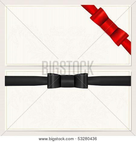 Gift certificate, Voucher, Coupon, Invitation or Gift card template with red bow (ribbon)