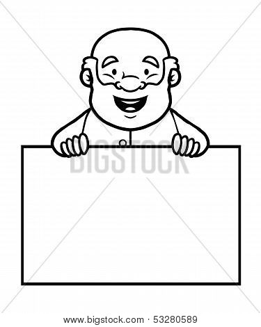 Black and white old man holding a blank sign