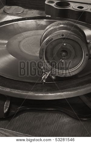 Vintage Gramophone Phonograph Closeup With Turntable and Needle II ** Note: Slight graininess, best at smaller sizes