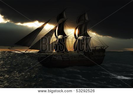 Sailing ship with a God ray evening sunset silhouette