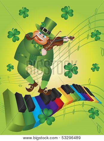 St Patricks Day Leprechaun Dancing On Piano Keyboard