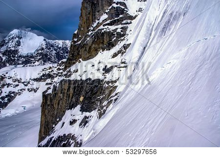 Beautiful Winter Wonderland Snowy Mountains in Alaska