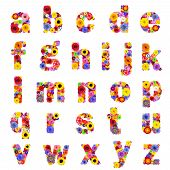 Full Floral lowercase Alphabet Isolated on White Background. Letters A to Z made of many colorful and original flowers poster