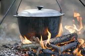 Camping kettle over burning campfire in forest. poster