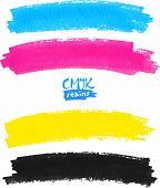 CMYK colors vector marker paint brush stains poster