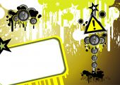 Grunge Danger music frame background with High contrast colors poster
