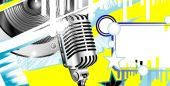 Abstract Music Background With Old microphone yellow blue poster