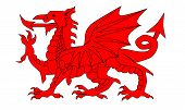 The Welsh Dragon isolayed over a white background. poster