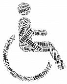 Tag or word cloud disability related in shape of human on wheelchair poster