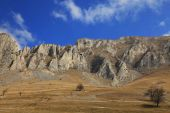 Early arid spring landscape in Trascau Mountains Romania. poster