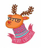 Merry Christmas cute deer in hipster glasses poster