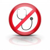 Symbol stethoscope. Sign ban wiretapping, surveillance and espionage. No supervision, no prosecution, no spyware. Vector illustration, editable and isolated. poster