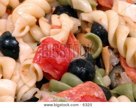 Close-up Of Pepperoni Pasta Salad