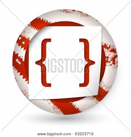 Red Abstract Icon With Paper And Brackets
