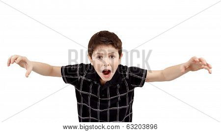 Young Boy Grimacing