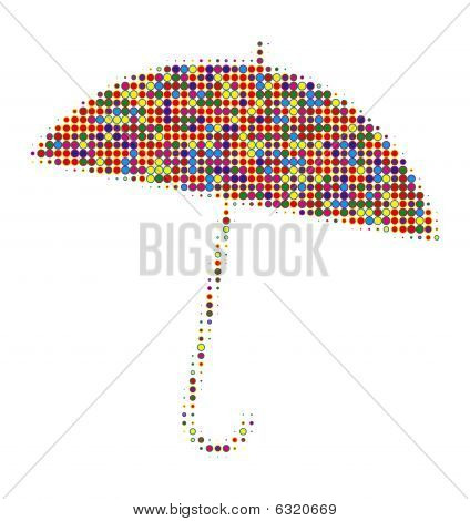 Umbrella made of many colors and points poster
