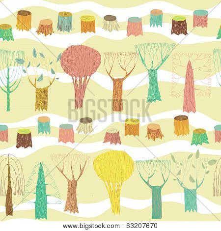 Trees Seamless Pattern In Colors
