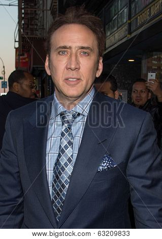 NEW YORK-APR 9: Actor Nicolas Cage attends the Lionsgate & Roadside Attractions with The Cinema Society premiere of 'Joe' at Landmark's Sunshine Cinema on April 9, 2014 in New York City.