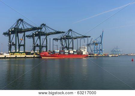 Wider View On Port Of Zeebrugge-seabruges.