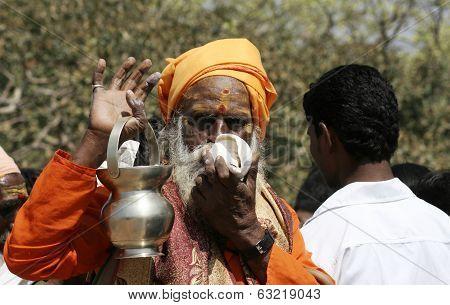 Indian Sadhu bless in Lord Shiva temple on mahasivaratri festival