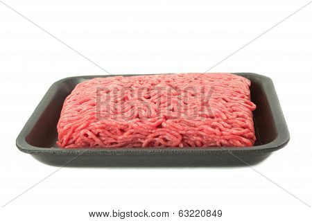 A Tray Of Fresh Lean Ground Beef From Supermarket Isolated On White Background