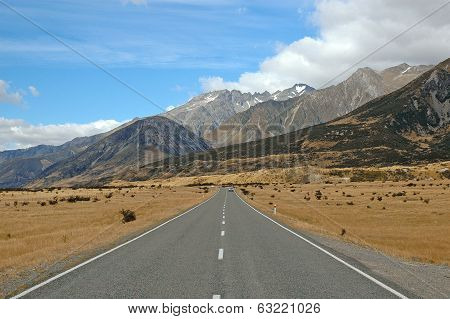 Driving in Aoraki, Mount Cook National Park, South Island New Zealand