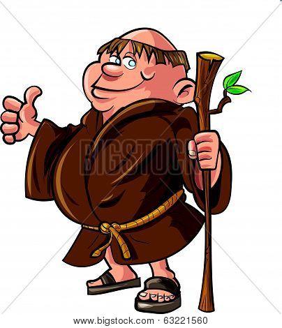 Cartoon monk holding a stick.
