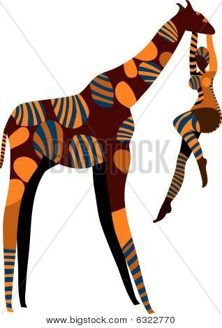 abstract female artist performs circus with a giraffe on a white background poster