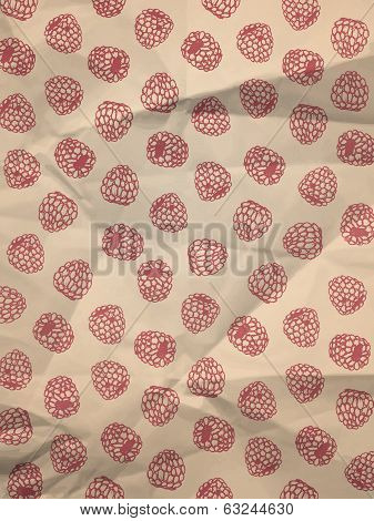 Wrapping paper with raspberries on crumpled paper texture - vintage background poster