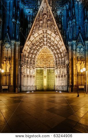 Cologne Cathedral Facade At Night