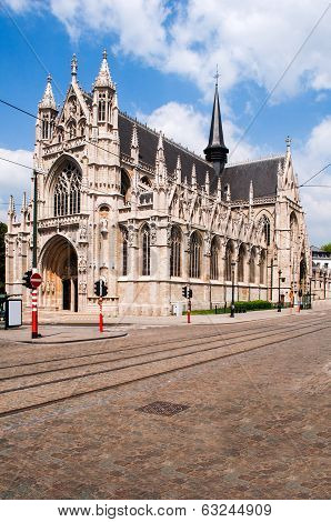 Our Blessed Lady of Zavel Church or Our Blessed Lady of the Sablon Church in Brussels Belgium. It is characterized by its late Brabantine Gothic exterior and rich interior decoration with two Baroque chapels poster