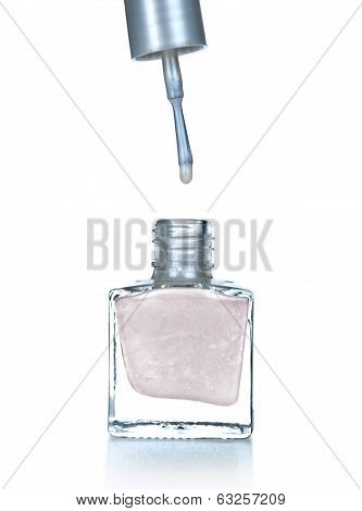 silver nail polish on an isolated white background