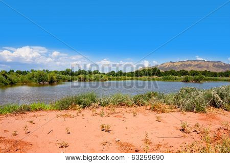 Little lake at Rio Grande Nature Center State Park poster