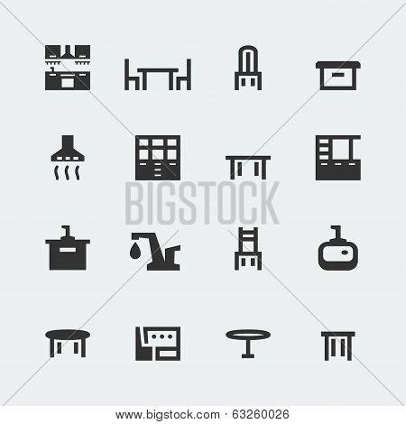 Vector Kitchen Furniture Mini Icons Set