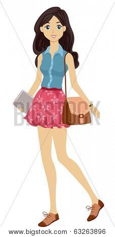 Illustration of a Young Female Student Sporting a Preppy Look