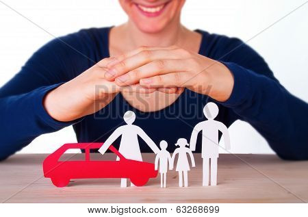 Woman Protecting Family And Car