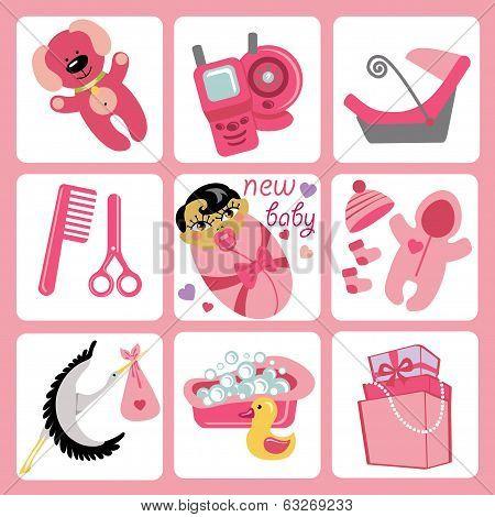 Cute Cartoons Icons For Asian Baby Girl.newborn Set