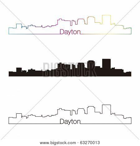 Dayton Skyline Linear Style With Rainbow