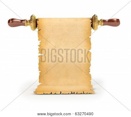 vintage scroll on isolated white background