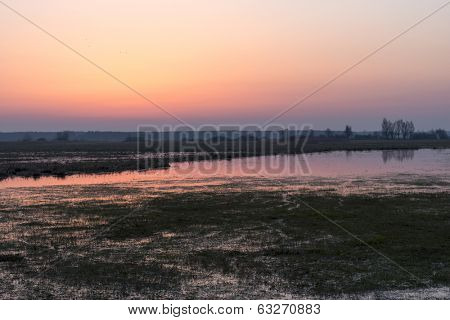 Before sunrise in early spring in the Biebrza National Park, Poland, Podlasie