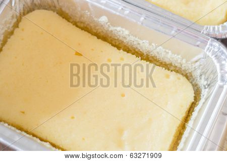 Close Up Cheese Base Square Cup Cake